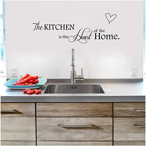 GKAWHH La Cocina Es El Corazón De La Casa Carta Patrón Etiqueta De La Pared PVC Extraíble Home Decor DIY Wall Art Home Decor