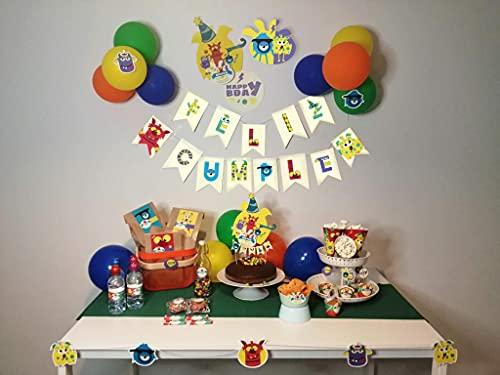 Pack de Decoración de Pretty Fiestas Tema (Mounstros), (78) Artículos Personalizados, Todo en una Caja… tu Birthday Pack!