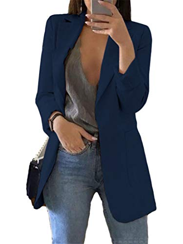 Generic Andongnywell Womens Solid Color Casual Open Front Long Sleeve Work Office Jackets Blazer Suit with Pockets Outwear (Navy 1,X-Large)