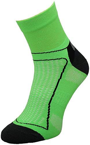 Comodo 1 Paar Bequeme Fahrrad-Socken | Funktionssocken | Bike | Mountainbike | Sport | Radfahren | Biking | Jogging-Socken | BIK1 Neon/Green 35-38