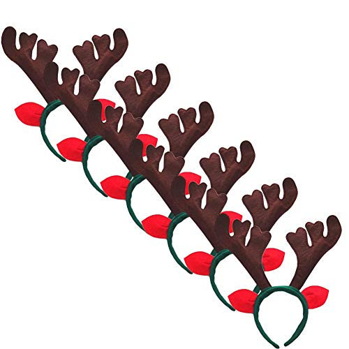 6pcs Christmas Reindeer Deer Antlers Headband Decoration for Adults and Children from Ocharzy (Pack of 6  Coffee+Green)