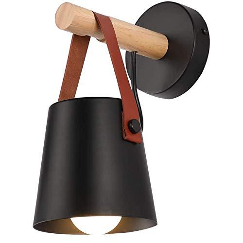 Lámpara de pared minimalista de madera para lectura de baño, espejo de iluminación, moderno dormitorio, contemporáneo, de metal, 22 x 14 x 14 cm, color negro