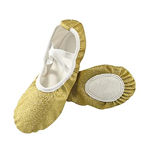 tggh Zapatos de baile Nuevos Zapatos de ballet Azul Rosa Brillo para Niñas Suela Suave Plana Yoga Gimnasio Zapatillas Niños (Color: GoldPlus, Tamaño del zapato: 10)
