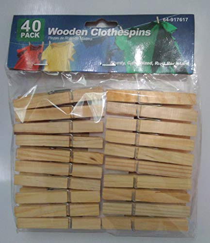 Urban Imports 40 Pack Wooden Clothespins