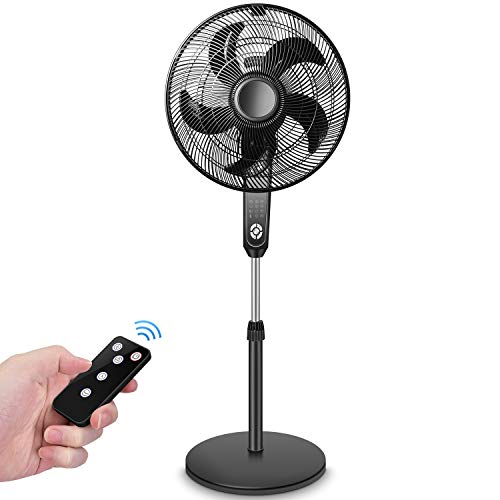 Pedestal Fan, Standing Fan Oscillating with Remote control, Large Floor Fan, Powerful 4 Speeds, 3 Modes, Timer, Quiet, Adjustable Tilt and Height, 2 in 1 Oscillating Fans for Bedroom, Patio
