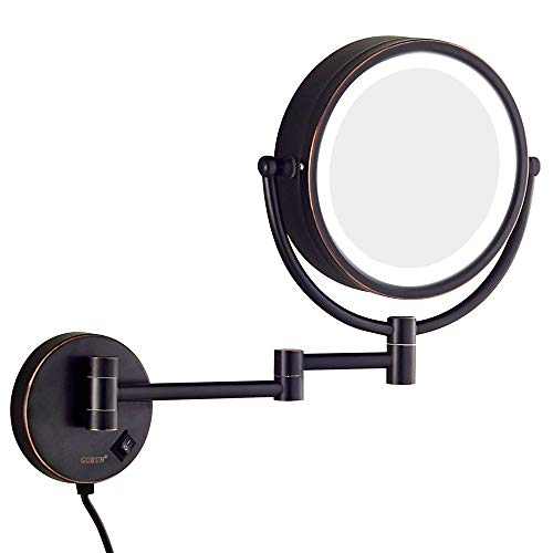 Kosmetikspiegel, Wandspiegel, LED-Schminkspiegel, 7-fache Vergrößerung Teleskop-Klappspiegel aus doppelseitigem Badezimmer - schwarz