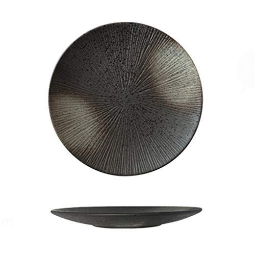 Assiette Ronde Tachée De Blanc Noir Céramique Mate 3cm Vaisselle Plat Western À Steak (Color : Black, Size : 25.5 * 3cm)