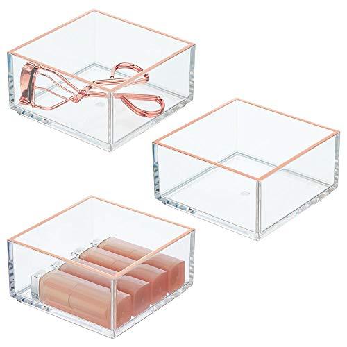 mDesign 3er-Set Kosmetik Organizer – praktische Aufbewahrungsbox für Lippenstift, Lidschatten, Haarspangen & Co. – Schminkaufbewahrung aus Kunststoff – transparent/roségoldfarben