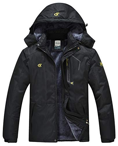 QPNGRP Mens Waterproof Ski Snowboarding Jacket Winter Windproof Fleece Snow Coat Black X-Large