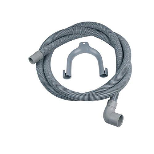 Manguera de desagüe de 2 m para lavadora y lavavajillas alternativo, Whirlpool Bauknecht 482000022642 Ariston Indesit C00054869, conectores acodados/rectos, diámetro 30/19 mm, con arco de sujeción