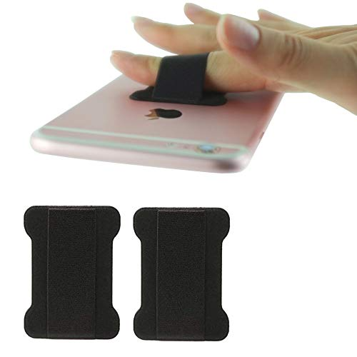 [2pc] Finger Strap Phone Holder - Ultra Thin Anti-Slip Universal Cell Phone Grips Band Holder for Back of Phone(Black)