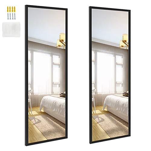 EdenseeLake 2 Packs 14x48 Inch Wall Mirrors Full Length for Bedroom, Living Room, Black