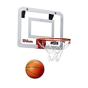 Wilson WTBA00219 Minicanasta de Baloncesto NCAA Showcase Pelota incluida con Soporte para Puerta, Unisex-Adult, Transparente, 38 x 28 cm