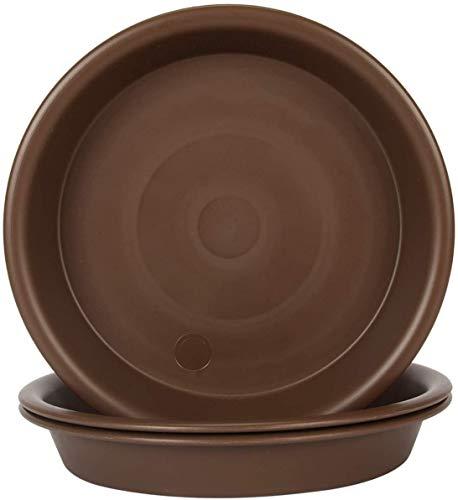 Grandisk - Plato para plantas, 10 cm, plástico interior y exterior, más duradero, bandeja de goteo de platillo, color marrón (4 pulgadas/10 cm-3 paquetes)