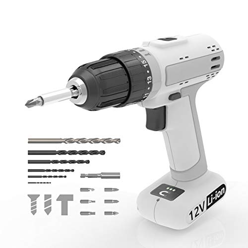 ACEGMET Cordless Drill, 12V Lithium-ion Cordless Drill Set, 18+3 Torque Setting Power Drill Driver, 3/8 inch Keyless Chuck Hammer Drill, Variable Speed & LED Drill, DIY Home Cordless Drill Set