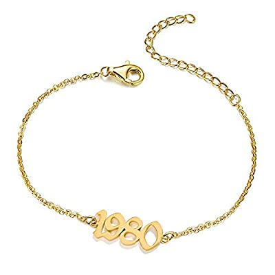 UMSTAR Birth Year Number Dainty Anklets for women,18K Gold Plated Foot Jewelry Adjustable Chain Beach Ankle Bracelets Anniversary Birthday Gifts for her (1980)