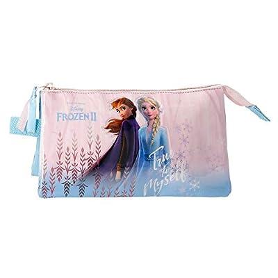Disney Estuche Frozen True To Myself con Tres Compartimentos, Azul de