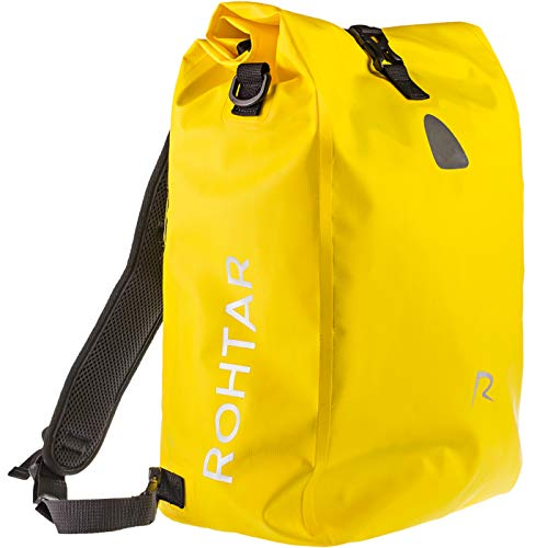 Rohtar Fahrradtasche Wasserdicht - 18L oder 25L 3-in-1 Schulterrucksack, Rucksack, Messengertasche Reisegepäckträger -Rucksack - Verstellbare Riemen, Lenkerklemmen, verdeckte Reissverschlüsse - Gelb