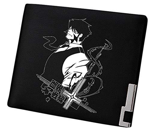 Cosstars Blood Blockade Battlefront Anime Cartera Hombre Cuero Artificial Billetera Portatarjetas Slim Wallet Negro /2