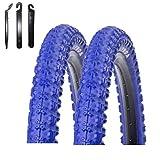 Kenda K-51 - Cubiertas para bicicleta (2 unidades, 20 x 2,25-58-406, incluye 3 desmontadores), color azul