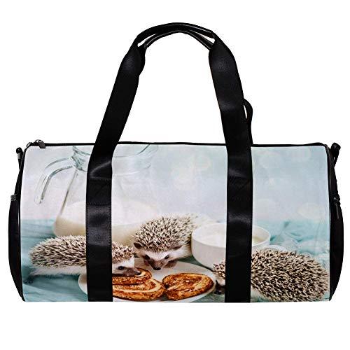 TIZORAX Seesack für Damen und Herren, Igel essen Brot Sport Gym Tote Bag Wochenende Übernachtung Reisetasche Outdoor Gepäck Handtasche