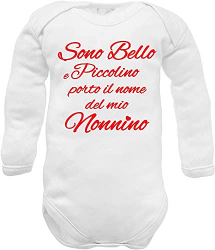 Body neonato divertente nipote con nome nonno (Body neonato manica lunga caldo cotone nome nonno, 00: 0-3 mesi)