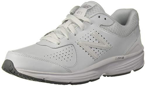 New Balance Men's 411 V2 Lace-Up Walking Shoe, White, 8.5 XW US