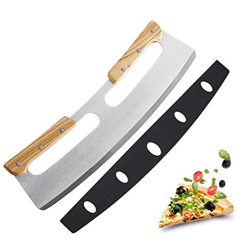 Mezzaluna Coltello tagliapizza - Lama Acciaio Inox ricurva Presa in Legno per Tagliare sminuzzare Verdure Pizza Frutta impasti coprilama