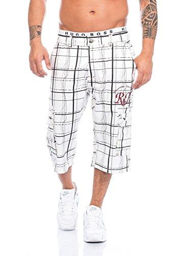 Raff&Taff Herren Bermuda in schönen Karo Farben .Schwarz,Weiß und in Antrhrazit bis XXXL (XL, Weiß)