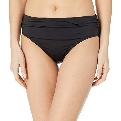Kenneth Cole New York Women's Shirred Band Hipster Bikini Swimsuit Bottom, Black//Devine Desire, Large
