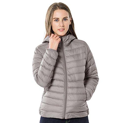 TAK Daunenjacke Damen Übergangsjacke Leicht Down Jacket Casual Steppjacke mit Kapuze, Grau, L