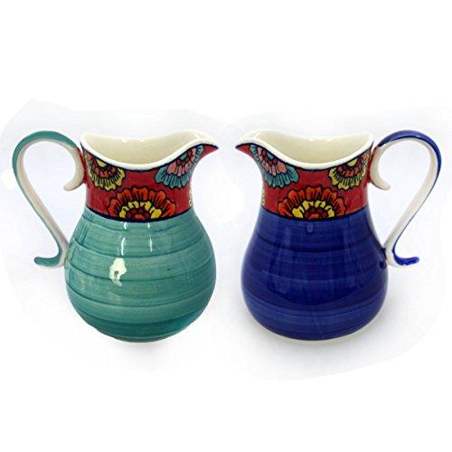 Gall&Zick Krug Kanne Karaffe Wasserkrug Saftkrug Keramik Bemalt Wasserkaraffe Getränke Milchkanne Sahnekännchen (Dunkelblau)