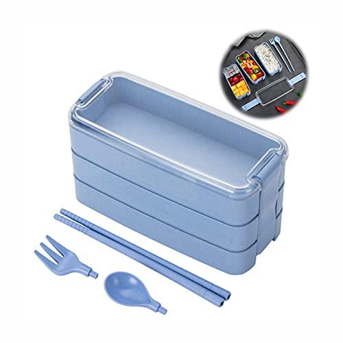 MXBXLG Fiambrera de Trigo con Cuchara y Tenedor Ambientalmente Caja bento Fiambrera de Paja de Trigo 3 Compartimentos lonchera con Utensilios Compartimentos Microondas a Prueba de Fugas Biodegradable