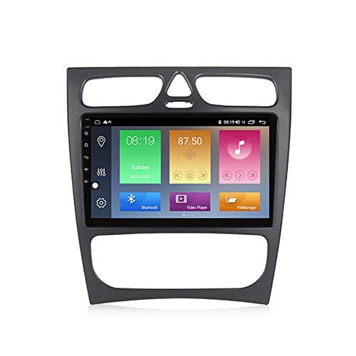 KLL Doble DIN Car Stereo GPS System Android 10.0 Pantalla táctil HD para Benz w209 Manos Libres Bluetooth FM Radio Controles del Volante+Cámara Trasera