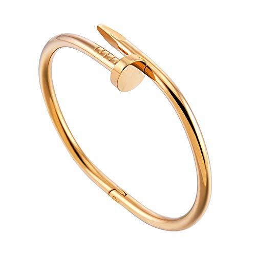 GDSGDSSL Armbänder Frauen Nagel Mode Stil Armband Titanium Edelstahl Offenes Paar Armreif