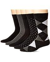 KM Legend Men's Dress Socks, Assorted 5 Pair Pack, Black, Shoe Size: 6-12 (SockSize: 10-13)