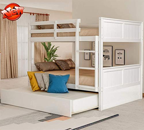 Jresboen Stronger and Safer Solid Wood Bunk Beds Full Over Full for Kids Teens Adults with Trundle, Stair and Safety Rail, Thicken Bunkbeds Full Over Full Bunk Bed Frame for Boys Girls (White)