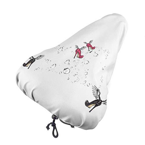 Protector de asiento Mujer Zapato y maquillaje Fundas de asiento para exteriores Cubierta de sillín Bicicleta con cordón, resistente a la lluvia y al polvo para la mayoría de los sillines de bicicle