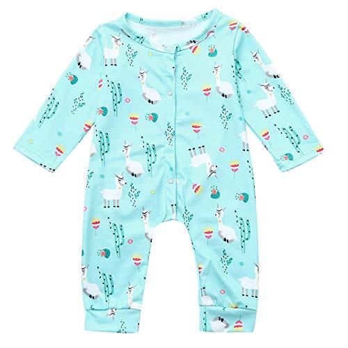 Jimmackey Neonato Unisex Pagliaccetto, Bambino Manica Lunga Alpaca Stampa Tutine Body Vestiti, da 3 A 24 Mesi Bebè