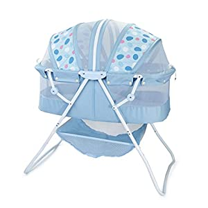 Big Oshi Emma Newborn Baby Bassinet – Portable Bassinet for Boys or Girls – Perfect for Bedside, Indoors, or Outdoors – Lightweight for Travel – Canopy Netting Cover – Wood Bed Base,