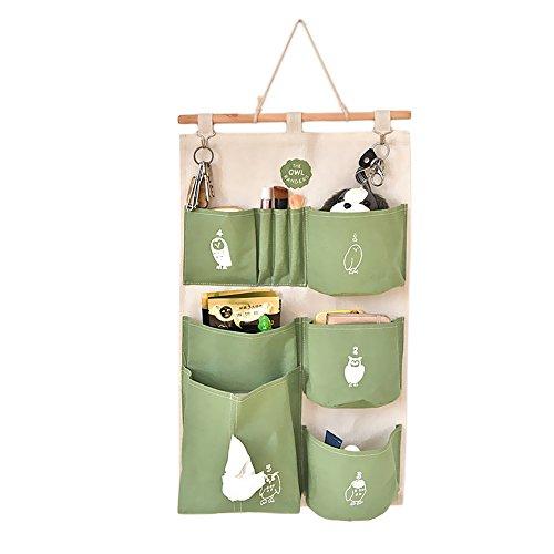 Gosear Sac de Rangement Suspendu, Draps de Coton Rangement Mural Maison Organisateur Porte-Valise Placard étui de Rangement Accrocher Sac avec Crochets Vert