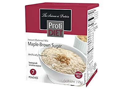 ProtiDIET Instant Oatmeal Mix (7 Pouches), Simply Add Water, No Sugar Meal Replacement, No Trans Fat, 15G Protein, 90 Calories