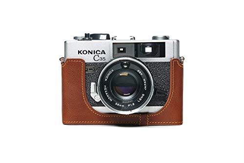 Zakao - Funda para cámara Konica C35 FD, hecha a mano, piel auténtica y auténtica para cámara Konica C35 FD/AUTO S3 con correa de mano, color marrón