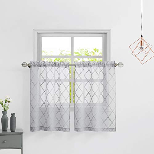 Variegatex Kitchen Curtains 36 Inch Length 2 Panels, Gray Moroccan Diamond Embroidered Textured Rod Pocket Sheer Tier Drapes for Small Window, Cafe, Bathroom, Dining Room, 28