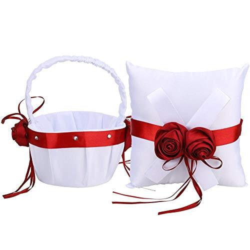 MAGT Almohada para Anillos De Boda, White Wedding Flower Basket Almohada para Anillo de Bodas Almohada romántica para Canasta de Flores para Suministros de Boda(Brasket Flower y Almohada de Anillo)