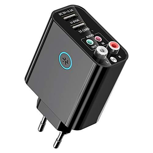 Dcolor Transmisor Receptor 2 en 1 Adaptador de Audio AUX 5.0 para TV Auriculares Altavoz Sistema EstéReo Enchufe de la UE