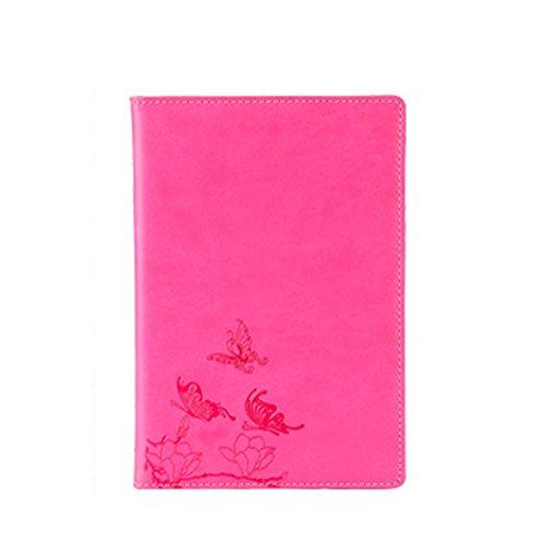 Wonque Libreta Bonitas Cuaderno de Cuero Vintage Bloc de Notas con Páginas en Blanco Regalo original San Valentín Navidad cumpleaños para Hombre Mujer Niños,Rosa roja