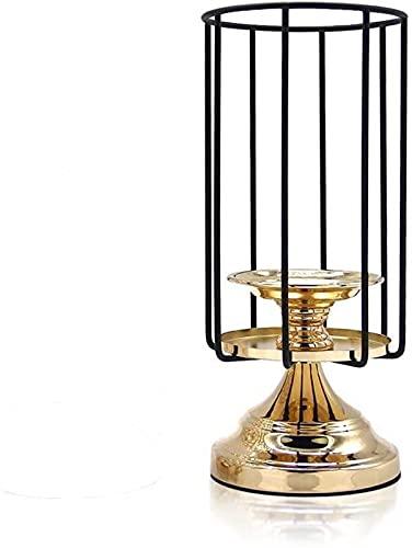RENYC Candeleros Tenedores de Velas for Mesa Negra Metal Vela Decorativa Tenedor de Linterna for la decoración del hogar de la Boda 11 Pulgadas (Color : Black and Gold)