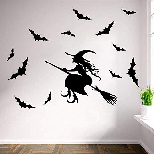Halloween Broom Sorcerer Wizard Bats Decoración Para El Hogar Pegatinas De Pared Fiesta Divertida Kids Room Decal Sticker Shop Decoraion Art