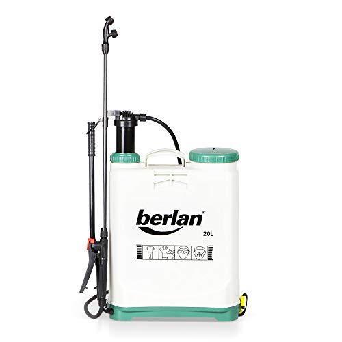 Berlan Pompa irroratrice a zaino da 20 litri - BRS20A - spruzzatore nebulizzatore a pressione e a spalla irrorante per diserbo erbacce e trattamenti in giardini orti e campi